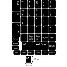 N6 Schwarze Tastaturaufkleber – mittel Set - 12,5:10,5mm